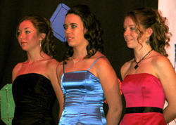 Three young ladies, all juniors at Oroville High School, participated in May Festival Royalty Selection Night at the Oroville High School Commons. The 2009 May Festival Royalty are (L-R) Princess Rachel Peters, Princess Serena Carper and Queen Kayla McKin