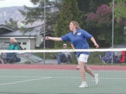 Photo by Emily HansonJoylnn Sullivan hitting the ball during her match against Lake Roosevelt on Friday, May 8. Sullivan played on the number one doubles team with Melissa Martinez and they defeated Mo Bell-Bart and Monica Warriors 6-3, 6-4.