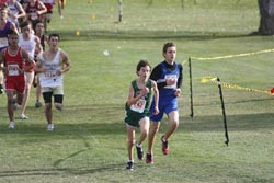 Tonasket sophomore Damon Halvorsen finishing the two mile mark of the state cross country meet with a time of 10:55 and in 15th place. Halvorsen went on to finish the course in 16th place with a time of 17:17. Submitted by Bob Thornton