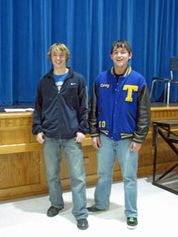 Spencer Podkranic (left) and Corey McCrarey were the only seniors on the Tonasket High School cross country team this past season. McCrarey received a first-year letter, was chosen as a Caribou Trail League Honorable Mention and was chosen as the team cap