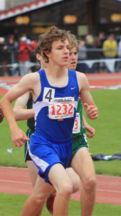 Tonasket sophomore Damon Halvorsen running in the 3200 meter race on Saturday, May 29 at the State Track meet in Cheney. Halvorsen finished the race in 11th place with a time of 10:27, a personal record and only six seconds behind the seventh place runner
