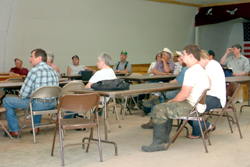 Several area farmers, many of them from the Okanogan Highlands, attended the meeting on canola and camelina production held at the Chesaw Rodeo Hall on Wednesday, July 14. They learned that they could grow about 1000 pounds of camelina per dry land acre a