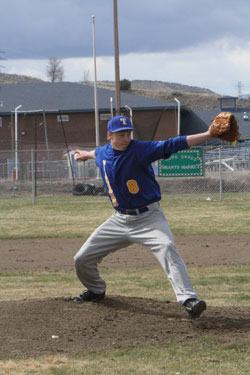 Tonasket senior Corbin Mirick pitches against the Chelan Goats during the Tigers' first home game of a doubleheader on Saturday, April 2. Photo by Terry Mills