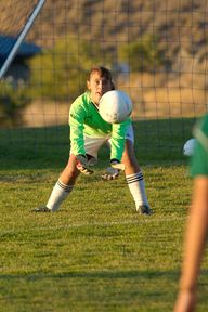 Tonasket goalkeeper Cayla Monroe positions herself for a save during the Tigers' shutout of Chelan.