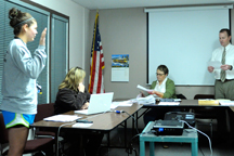 Student Rep. Katie Tietje being sworn in at the last Oroville School Board meeting. Photo by Gary DeVon