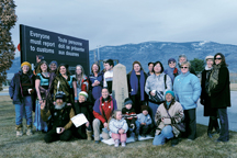 Community members from both sides of the border gathered for a group photo commemorating the 2012