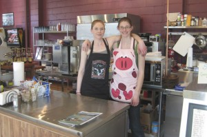 Kodi  Erickson-Green and Evva Burts at On the Avenue Coffee Shop located at 134 2nd Ave. South in Okanogan. Charlene Helm/staff photo