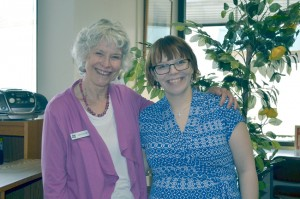 Librarian Meg Lange (left) is retiring after 21 years. Local girl Sara McVay will be taking her place. Katie Teachout/staff photo