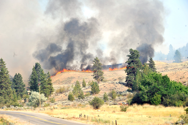 Fire can be seen from the Oroville-Chesaw Road as flames crest a hill burning in dry grasses and sage Thursday. Gary DeVon/staff photos
