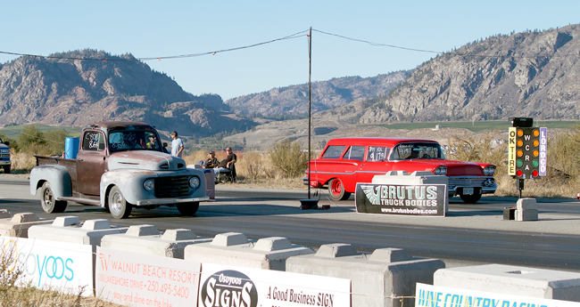 Two winners from the 2015 Rumble in the Valley ready their cars and their nerves at the starting lights at Richter Pass Motorplex in Osoyoos, BC. Cliff Meeds, from Oliver, BC, won the Car Club Challenge in his 1949 Mercury truck. Reg Krutom, from Kelowna, BC, won the Fast Eight shoot-out in his 1958 Yeoman station wagon. Dan Hodson, Oliver, BC/submitted photo