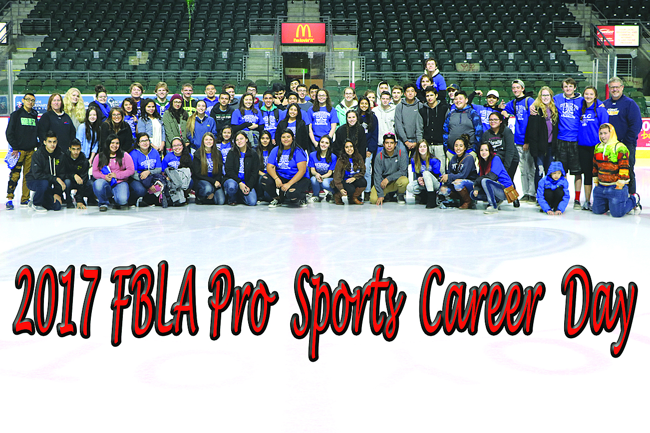 Submitted photo FBLA students on the ice at Wenatchee Wild Pro Sports Career Day. Students who attended got to meet with professional athletes from the Wenatchee Wild Hockey Team, as well as some key individuals from the Apple Sox Baseball Team and Mission Ridge Ski Area, according to OHS FBLA Advisor Tony Kindred, who also serves at Regional Advisor for the student organization and helped to organize the event. The students also got to attend a Wild's hockey match.
