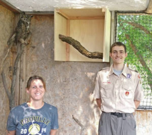 Nathan Rise with Lisa Lindsey with the Okanogan Wildlife League (OWL). Rise built shelter boxes for raptors housed at the animal rescue.