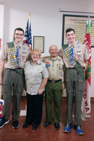 Carrie Crickmore/submitted photos Nathan and Collin Rise with their former Cubmaster Vicki Hart and Scoutmaster Walt Hart at their Boy Scouts Eagles Court of Honor held at the American Legion Hodges Post #84 in Oroville.