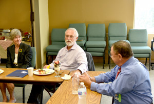 U.S. Representative Dan Newhouse, 4th Congressional District (center), and state Senator Linda Parlette (12th Dist.)  and Mid-Valley Hospital CEO Alan Fisher.