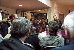 Architect Dave Frunkland, from Yakima, talked about the proposed North Valley Hospital renovations at length with a packed crowd Nov. 27. Most of the council meeting was spent on the proposed plans, addressing a sometimes-hostile crowd - Photo by Amy Vene
