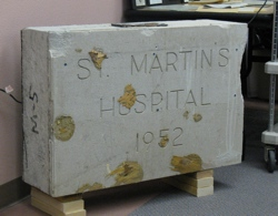 The original cornerstone of St. Martin's Hospital, sealed on Sept. 17, 1952. The construction crew at North Valley Hospital discovered the cornerstone in the wall  of the lobby and within it they found a time capsule when they hit it with a jackhammer. Th