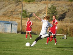 Tonasket Ashley Booker about to kick the ball away from the Tonasket goal during the Tiger's home loss to Cascade on Tuesday, Oct.  6.Photo by Emily Hanson