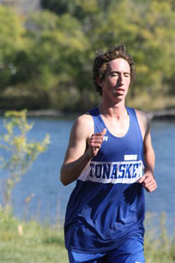 Tonasket senior Matt Gschiel running by himself at the Oroville Invitational on Saturday, Oct. 16. Gschiel finished the race in ninth place, his best race of the season so far. Submitted by Bob Thornton
