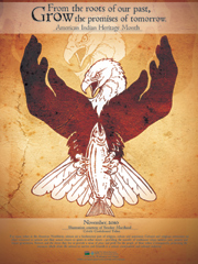 """Artist Virgil """"Smoker"""" Marchand, a member of the Colville Confederated Tribe, designed the artwork for the national American Indian Heritage Month Poster. The illustration depicts the transfer of traditional values between past, present and future gen"""